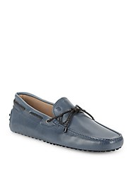 Tod's Leather Tie Moccasins Petrol Blue