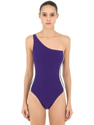 Norma Kamali One Shoulder Lycra One Piece Swimsuit Purple