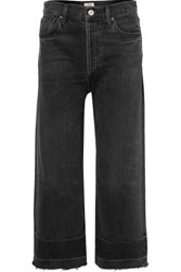Citizens Of Humanity Sacha Frayed Cropped High Rise Wide Leg Jeans Black