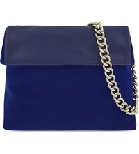 Karen Millen Regent Suede And Leather Shoulder Bag Blue