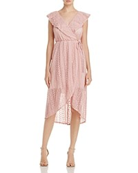 Aqua Lace And Ruffle Wrap Dress 100 Exclusive Dusty Rose