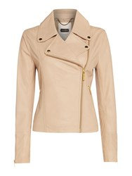 Part Two Leather Jacket Beige