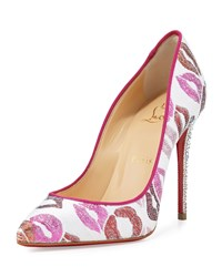 Christian Louboutin Cosmopump Lip Print Red Sole Pump White Women's Size 36.5B 6.5B