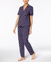 Nautica Printed Notch Collar Pajama Set Navy Print