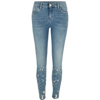 River Island Mid Blue Amelie Ripped Hem Super Skinny Jeans