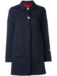 Woolrich Flared Buttoned Coat Blue