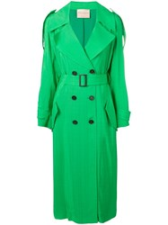 Erika Cavallini Belted Trench Coat Green