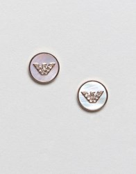 Emporio Armani Rose Gold L Logo Stud Earrings Rose Gold