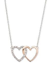Macy's 14K White And Rose Gold Necklace Diamond Accent Double Heart Interlocking Pendant