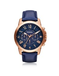 Fossil Grant Chronograph Gold Tone Stainless Steel Case And Navy Blue Leather Strap Men's Watch