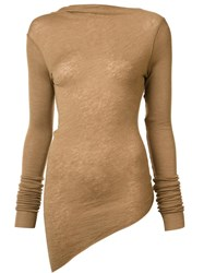 Rick Owens Lilies Asymmetric V Back Jumper Brown
