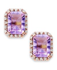 Macy's 10K Rose Gold Earringss Emerald Cut Pink Amethyst 2 1 2 Ct. T.W. And Diamond Accent Studs