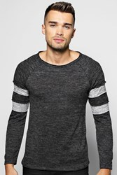 Boohoo Knit Jumper With Sports Stripes Charcoal