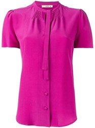 Etro Tied Neck Buttoned Blouse Pink Purple