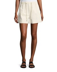 Helmut Lang Drawstring Pull On Cotton Shorts White