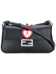 Fendi Micro Baguette Crossbody Bag Women Leather One Size Black