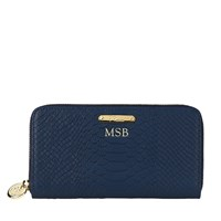 Graphic Image Large Zip Around Wallet Navy Personalized