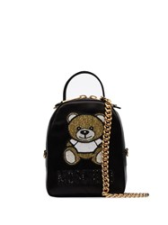 Moschino Small Beaded Teddy Motif Backpack Black