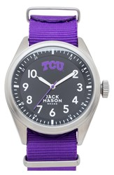 Jack Mason Brand 'Texas Christian University Horned Frogs' Nato Strap Watch 44Mm Purple Black