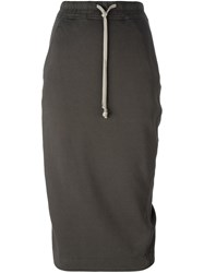 Rick Owens Drkshdw Drawstring Pencil Skirt Grey