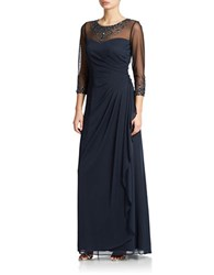 Patra Jeweled Illusion Gown Navy