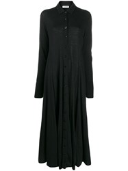 Jil Sander Button Down Maxi Shirt Dress Black