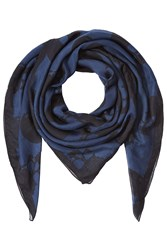 The Kooples Printed Scarf With Silk Blue