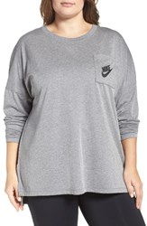 Nike Plus Size Women's Sportswear Signal Top Carbon Heather Black