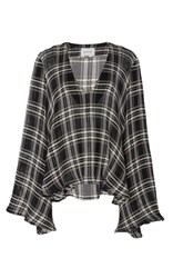 Beaufille Calypso V Neck Plaid Sweater