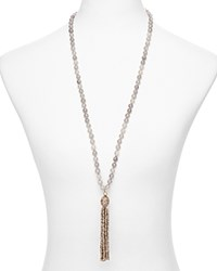 Sequin Color Karma Tassel Necklace 30 Grey