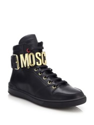 Moschino Logo Ankle Strap Leather High Top Sneakers White Black