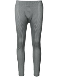 Issey Miyake Pleats Please By Ribbed Sports Leggings Grey
