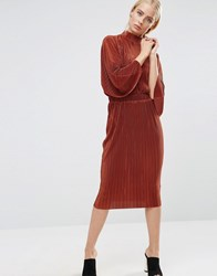 Asos Plisse Dress With High Neck Rust Red