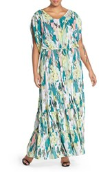 Plus Size Women's Melissa Mccarthy Seven7 Print Drawstring Waist Tiered Maxi Dress