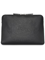 Burberry Embossed Crest Leather Document Case Black