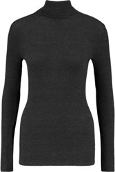 Enza Costa Ribbed Modal Blend Turtleneck Sweater Anthracite