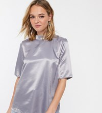 Glamorous High Neck Top In Soft Organza Grey