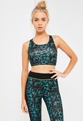 Missguided Active Green Leopard Print Cross Back Sports Bra
