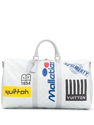 Louis Vuitton 2019 Pre Owned Logo Print Holdall Silver