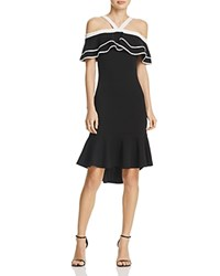 Aqua Cold Shoulder Ruffle Dress 100 Exclusive Black White