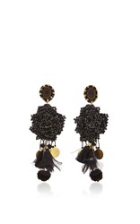 Ranjana Khan Black Crystal Earrings