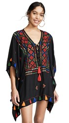 Bindya Lace Up Tunic With Mirror Embroidery Black