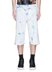 Mcq By Alexander Mcqueen Bleached Logo Embroidered Shorts Blue