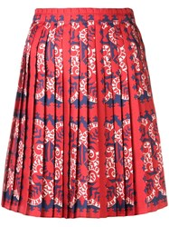 Valentino Logo Print Pleated Skirt Red