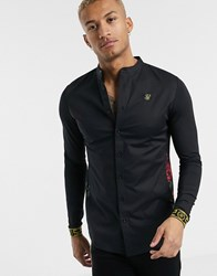 Sik Silk Siksilk Long Sleeve Shirt In Black With Floral Panels