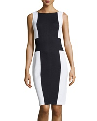 St. John Colorblock Knit Sheath Dress Onyx White