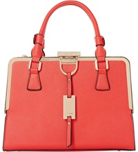 Dune Diana Structured Metal Framed Handbag Red Synthetic