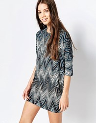 Qed London Zig Zag Printed Shift Dress Blue