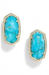 Kendra Scott Women's 'Ellie' Oval Stone Stud Earrings Bronze Veined Turquoise Gold