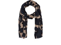 Luciano Barbera Men's Abstract Print Lightweight Cashmere Twill Scarf Navy
